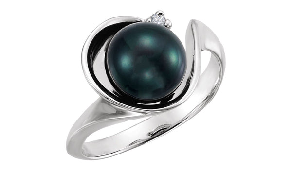 14K White Akoya Cultured Pearl & .03 CTW Diamond Ring