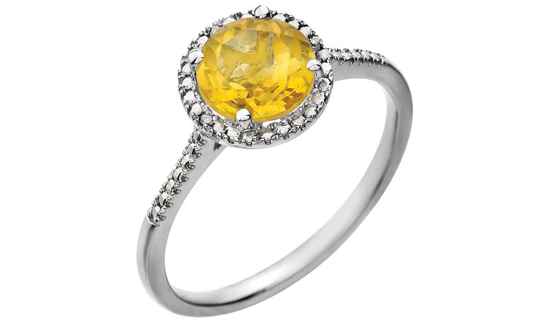 Sterling Silver Citrine & .01 CTW Diamond Ring - THE LUSTRO HUT