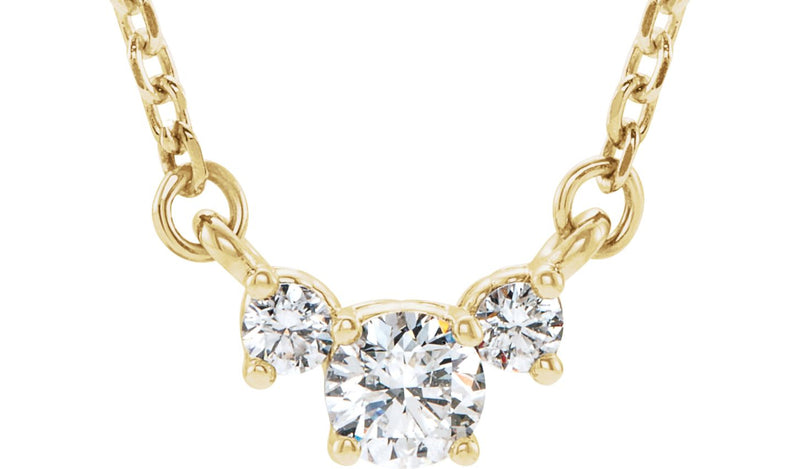 "14K Yellow 1/3 CTW Diamond Three-Stone 16-18"" Necklace"