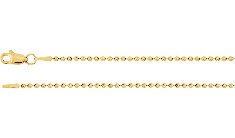 "14K Yellow 1.5 mm Bead 16"" Chain"