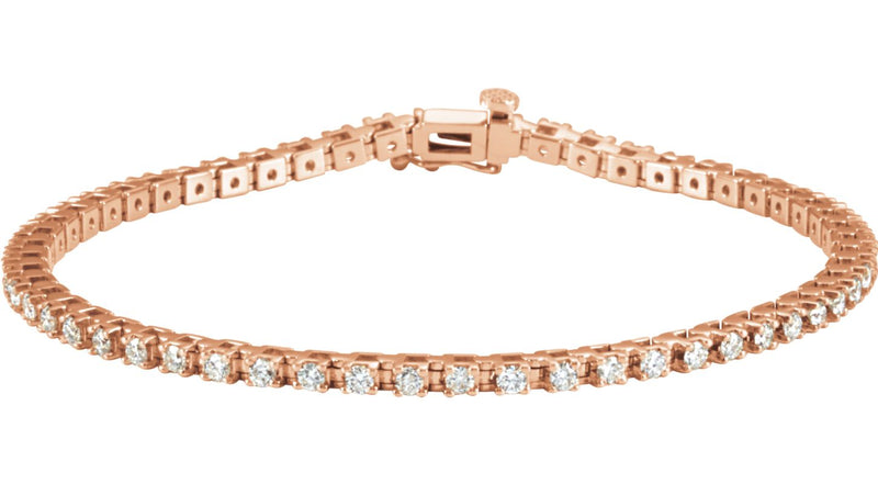 "14K Rose Gold 2 1/4 CTW Diamond 7.25"" Line Bracelet"