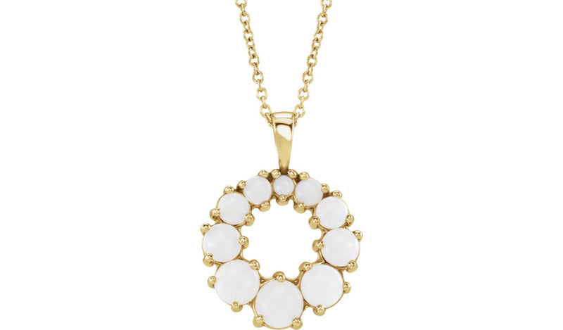 "14K Yellow Opal Halo-Style 18"" Necklace"