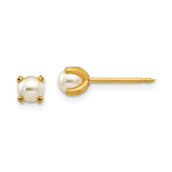 Inverness 18k 4mm Prong Simulated Pearl Earrings