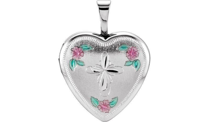 Sterling Silver 15.75 mm Tri-Color Cross & Roses Locket - THE LUSTRO HUT