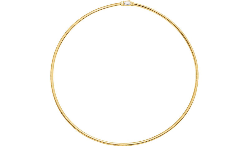 "14K Yellow & White 3 mm Two-Tone Reversible Omega 18"" Chain"