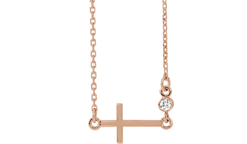"14K Rose .03 CTW Diamond Sideways Cross 16-18"" Necklace"