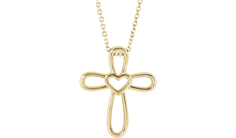 "14K Yellow Cross with Heart 16-18"" Necklace - THE LUSTRO HUT"