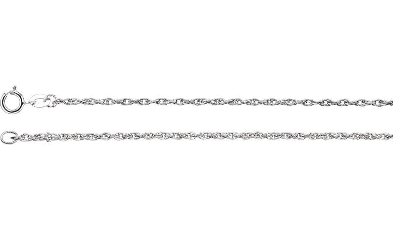 "Sterling Silver 1.5 mm Rope 20"" Chain"