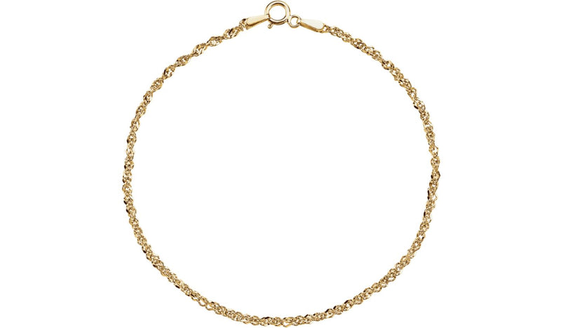 "14K Yellow 1.75 mm Diamond-Cut Singapore 20"" Chain with Spring Ring"