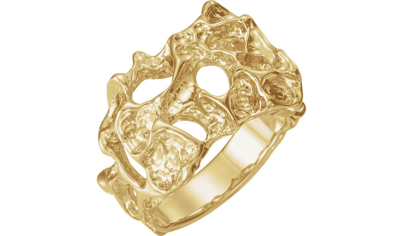 14K Yellow 18 mm Men's Nugget Ring