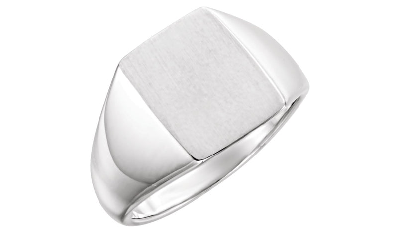 Sterling Silver 15x12 mm Signet Ring - THE LUSTRO HUT