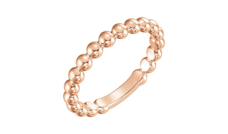 14K Rose 3 mm Stackable Bead Ring - THE LUSTRO HUT