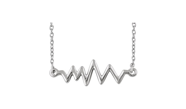 "Sterling Silver Heartbeat 16-18"" Necklace"