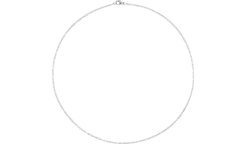 "Sterling Silver 1.6 mm Knurled Figaro 20"" Chain with Lobster Clasp"
