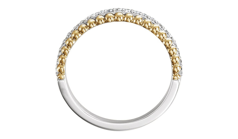 14K White & Yellow 1/4 CTW Diamond Beaded Ring