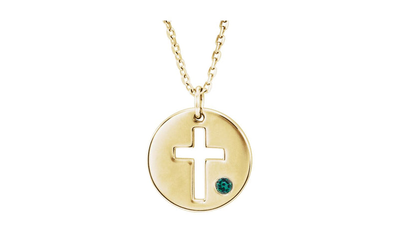 "14K Yellow Alexandrite Pierced Cross Disc 16-18"" Necklace"