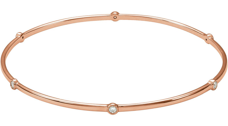 "14K Rose Gold  1/4 CTW Diamond Bezel-Set Bangle 8"" Bracelet"