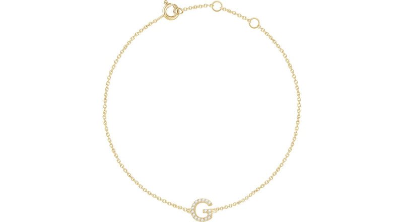 "14K Yellow Gold .05 CTW Diamond Initial ""G"" 6-7"" Bracelet"