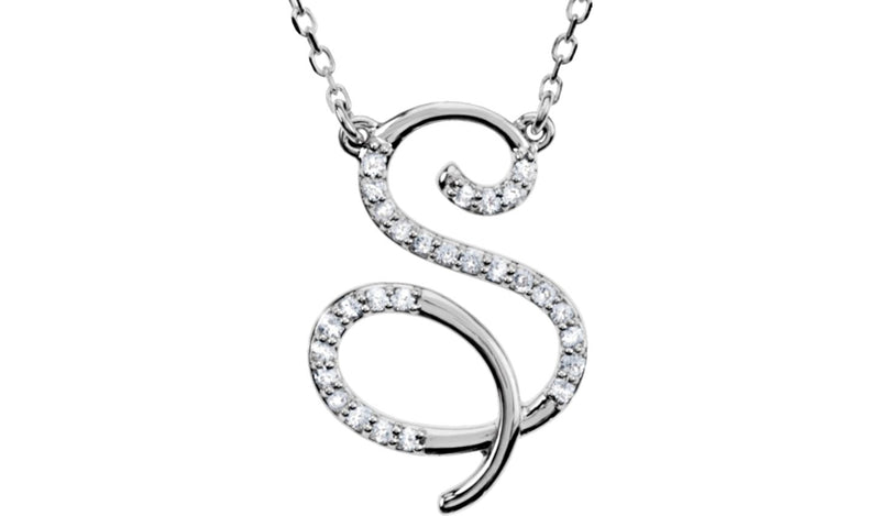 "Sterling Silver Letter ""S"" 1/8 CTW Diamond Initial 16"" Necklace"