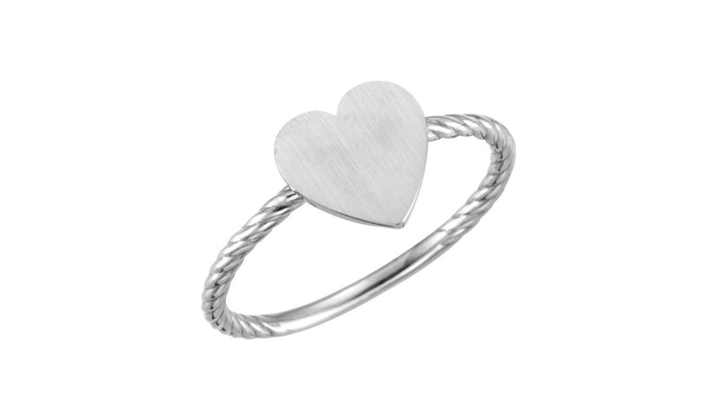 Continuum Sterling Silver Heart Engravable Rope Ring