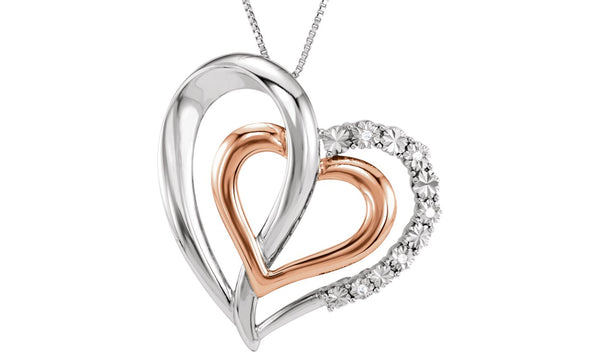 "14K Rose Gold-Plated Sterling Silver .03 CTW Diamond Heart 18"" Necklace"