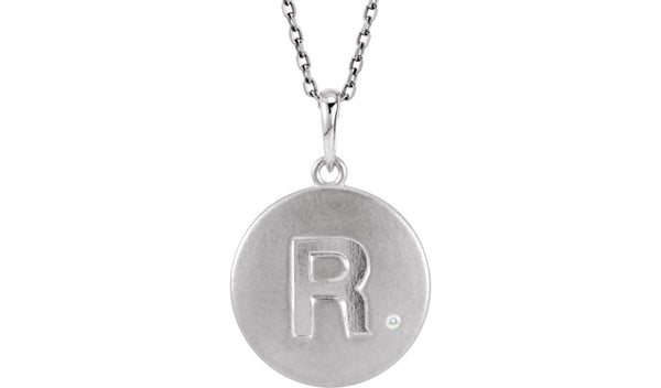 "Sterling Silver .005 CTW Diamond Letter ""R"" Initial Disc 18"" Necklace"