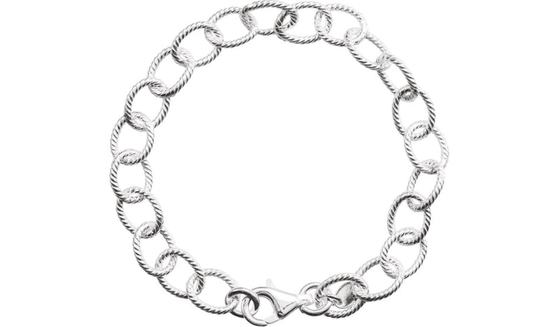 "Sterling Silver Knurled Cable 7"" Bracelet"