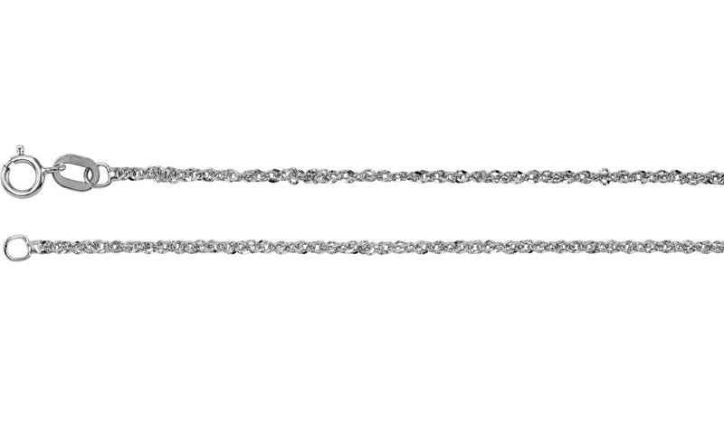 "14K White 1.25 mm Diamond-Cut Singapore 18"" Chain with Spring Ring"