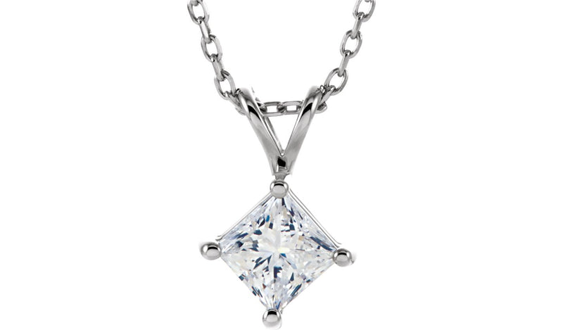 "14K White 1/2 CT Diamond Soltiare 18"" Necklace"