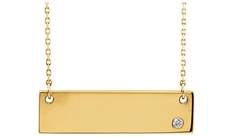 "14K Yellow .03 CT Diamond Bar 18"" Necklace without Engraving"