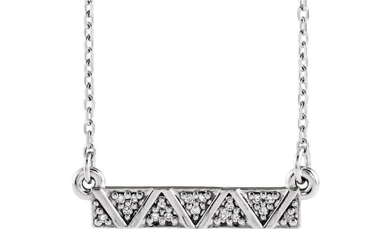"Sterling Silver .05 CTW Diamond Geometric Bar 16-18"" Necklace"