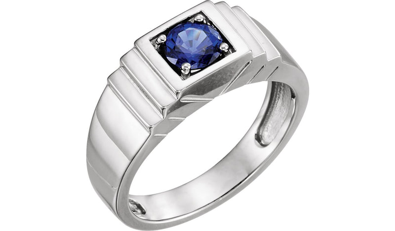 14K White Men's Chatham® Created Blue Sapphire Ring