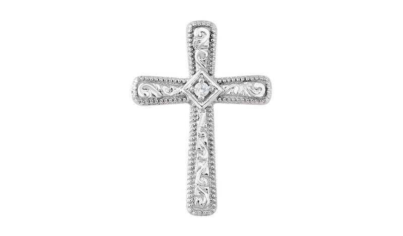 14K White .01 CTW Diamond Cross Pendant