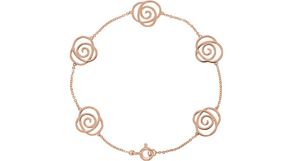 14K Rose Gold Floral-Inspired Bracelet