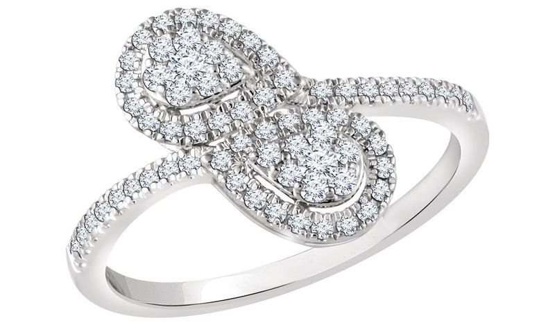 14K White 3/8 CTW Diamond Double Pear Cluster Ring