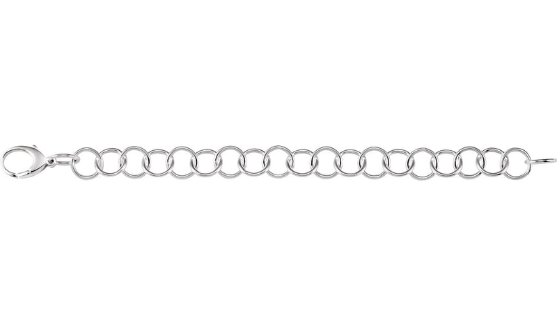 "Sterling Silver 12 mm Ring Link 8"" Chain"
