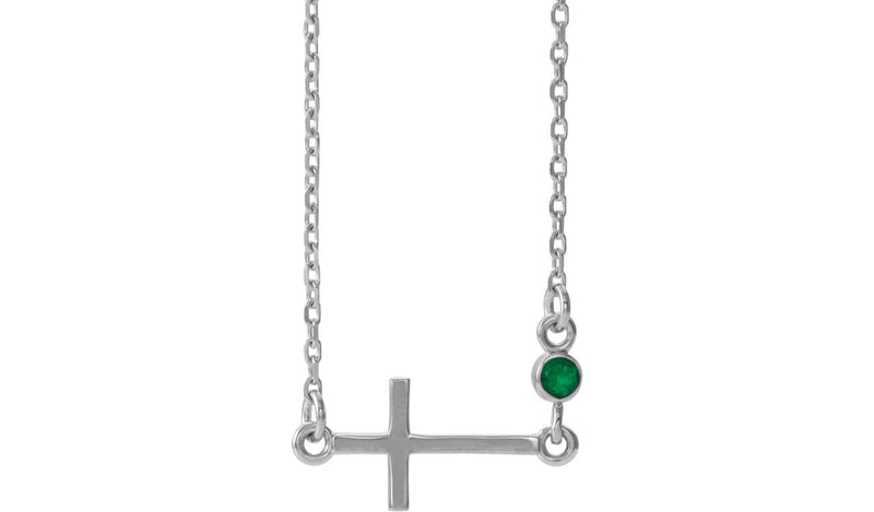 "Sterling Silver Chatham® Created Emerald Sideways Accented Cross 16-18"" Necklace"
