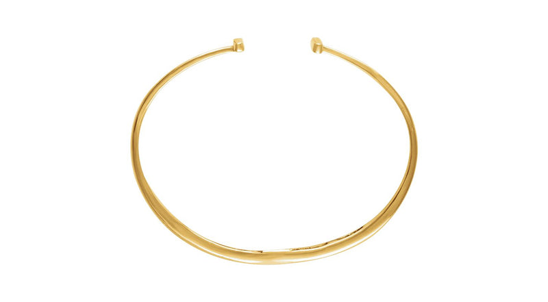 14K Yellow Gold Hinged Cuff Bar Bracelet 7""