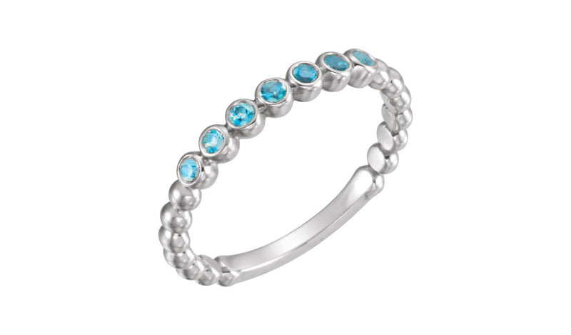 14K White Blue Zircon Stackable Ring