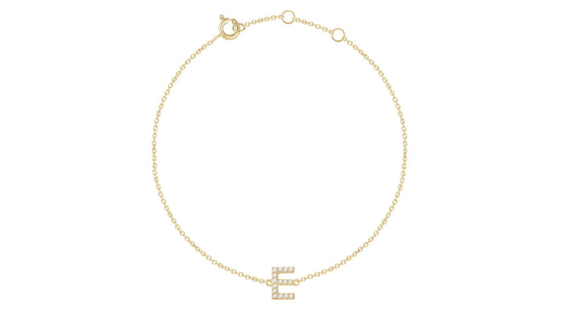 "14K Yellow Gold .06 CTW Diamond Initial ""E"" 6-7"" Bracelet"