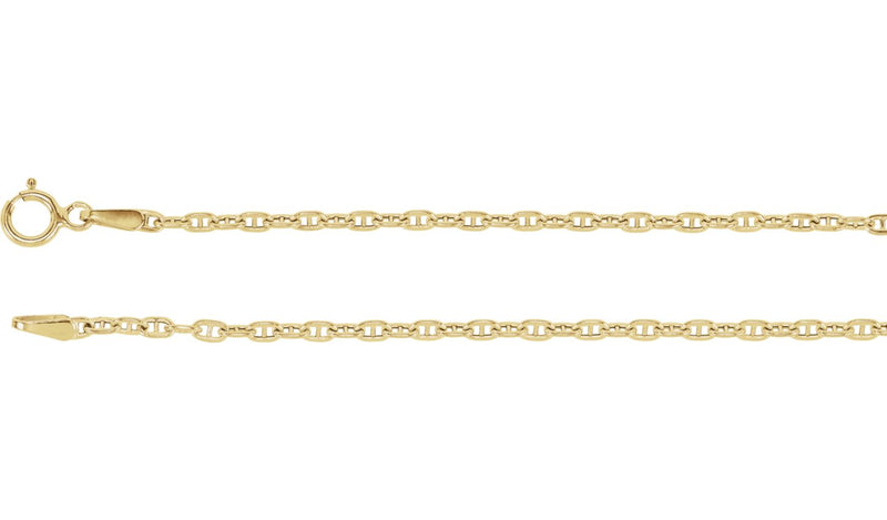 "14K Yellow 1.75 mm Hollow Anchor 7"" Chain"