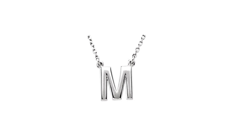 "Sterling Silver Letter ""M"" Block Initial 16"" Necklace"