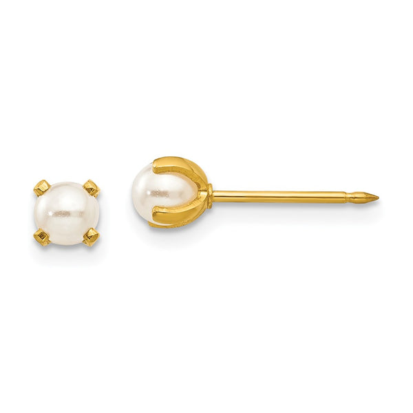Inverness 24k Plated 4mm Simulated Pearl Earrings