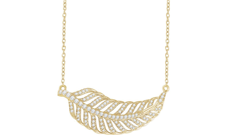 "14K Yellow 3/8 CTW Diamond Leaf 16-18"" Necklace"
