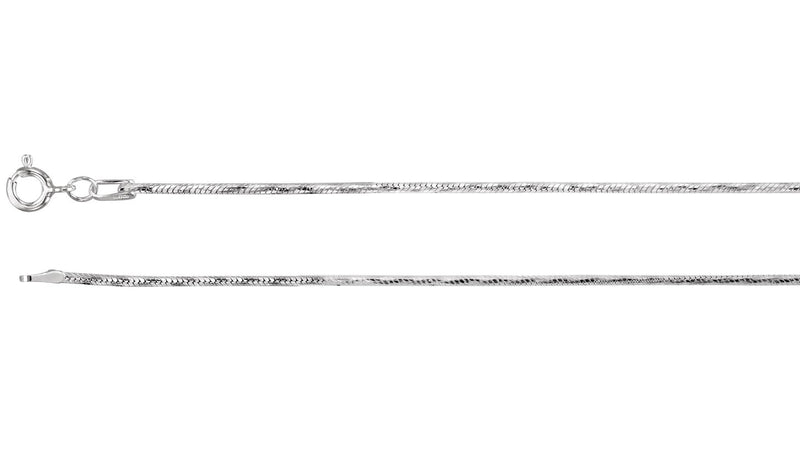 "Sterling Silver Diamond Cut Snake 18"" Chain with Spring Ring"