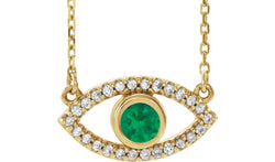 "14K Yellow Emerald & White Sapphire Evil Eye 18"" Necklace"
