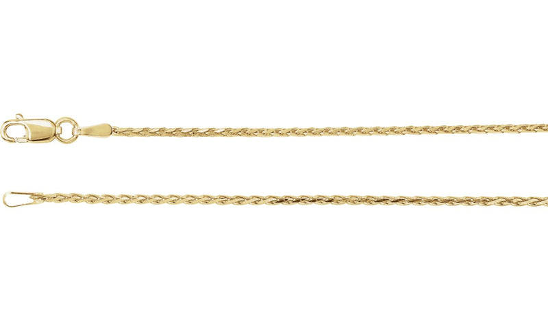 "14K Yellow 1.5 mm Diamond Cut Wheat 18"" Chain"