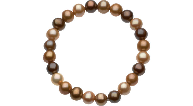 "8-9 mm Freshwater Cultured Dyed Chocolate Pearl 7"" Stretch Bracelet"