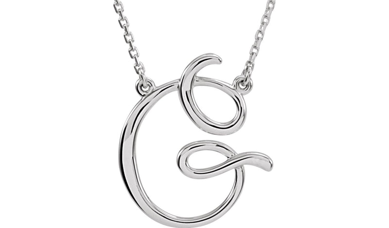 "Sterling Silver ""G"" Script Initial 16"" Necklace"