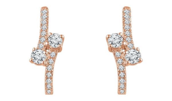 14K Rose 5/8 CTW Diamond Two-Stone Earrings